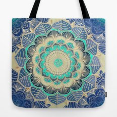 Midnight Bloom - detailed floral doodle in gold, navy blue & mint Tote Bag