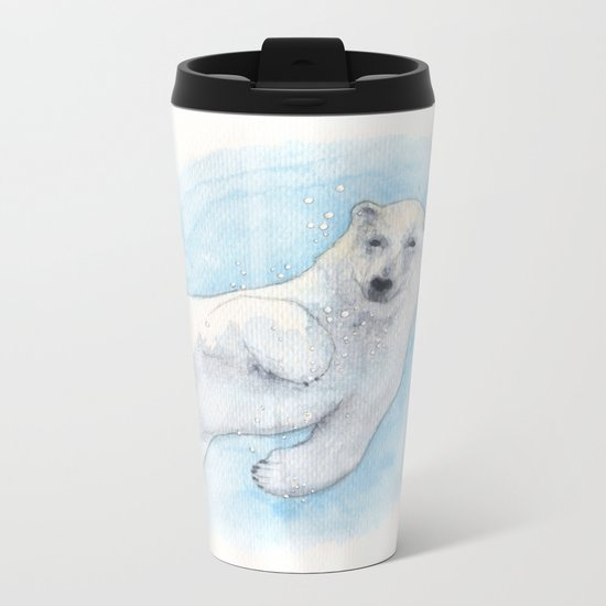 Polar bear underwater Metal Travel Mug