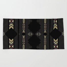 Southwestern Black Diamond Stripe Patterns Beach Towel