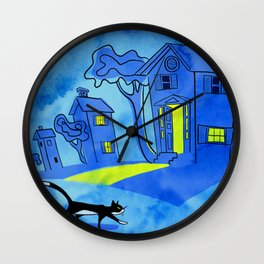 Night Cat On The Prowl Wall Clock