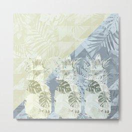 Elegant Geometric Pineapples Tropical Pattern Metal Print