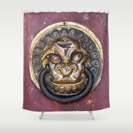 Knock knock - Erdene Zuu door knocker Shower Curtain