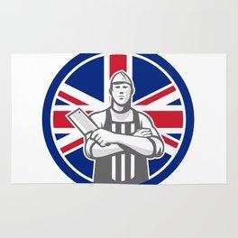 British Butcher Front Union Jack Flag Icon Rug