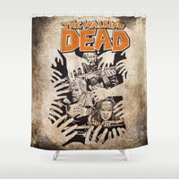 the walking dead Shower Curtains featuring THE WALKING DEAD - SIEGE by Zorio