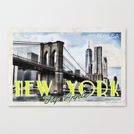 New York USA Travel Poster v5 Canvas Print