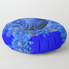 Blue Bird & Blue Flowers Pattern Art Floor Pillow