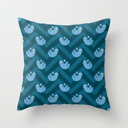 Blue sloths and chevrons Throw Pillow