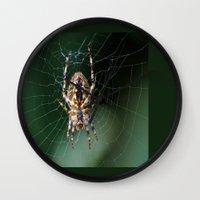 spider Wall Clocks featuring Spider by Dora Birgis