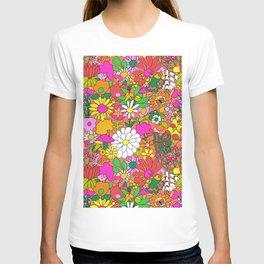 60's Groovy Garden in Neon Peach Coral T-shirt