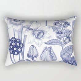 Flowers in Blue Rectangular Pillow