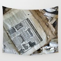 newspaper Wall Tapestries featuring Old Newspaper Left to the Elements...Furnish Your Home in Style by Andrea Jean Clausen - andreajeanco