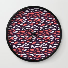 colorful fish seamless pattern design Wall Clock