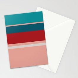A gentle medley of Blood (Animal), Blush, Pastel Gray, Dark Cyan and Philippine Indigo stripes. Stationery Cards