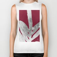 burgundy Biker Tanks featuring Green Fern on Burgundy Wine by ANoelleJay