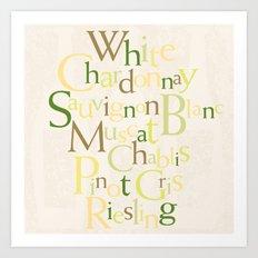 white wine words Art Print