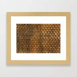 Weathered wall of wooden shingles Framed Art Print