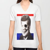 jfk V-neck T-shirts featuring JFK SKULL PORTRAIT by Joedunnz