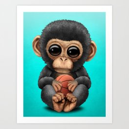 Cute Baby Chimp Playing With Basketball Art Print