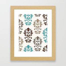 Heart Damask Art I Browns Teal Cream Framed Art Print