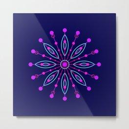 Space Flower Blue Metal Print