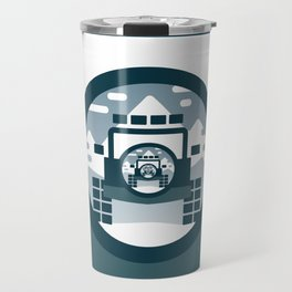 4x4 vehicle vector drawing in the mountains. Travel Mug