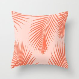 Coral Palms ~ Summer Tropical Pattern Throw Pillow