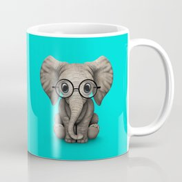 Cute Baby Elephant Calf with Reading Glasses on Blue Coffee Mug