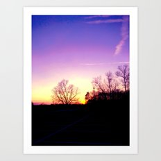 School Sunset Purple & Yellow Art Print