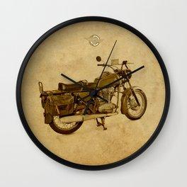 Ducati con alforjas - vintage background Wall Clock