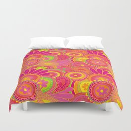 Psychedellic Paisley Orange Duvet Cover