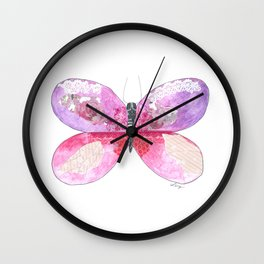 Violet Butterfly Wall Clock
