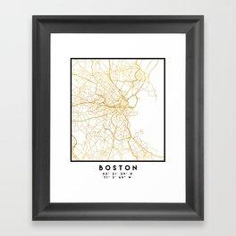 BOSTON MASSACHUSETTS CITY STREET MAP ART Framed Art Print