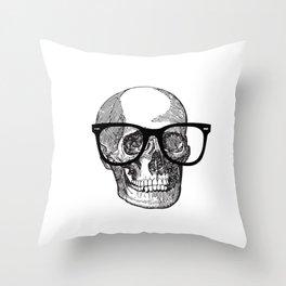 I die hipster - skull Throw Pillow
