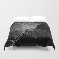 detroit Duvet Covers featuring Detroit map  by Line Line Lines