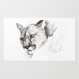 Sketch Of A Captived Mountain Lion Rug