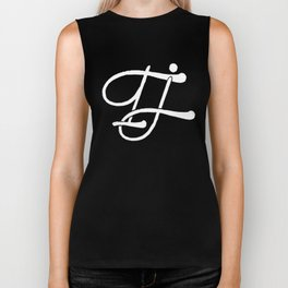 TJ Signature Logo-White on Black Biker Tank