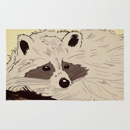 Raccoon on tree Rug