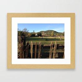 Fence and Horses Framed Art Print
