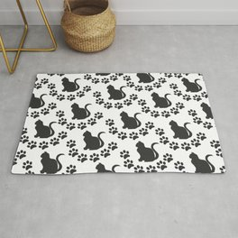 Pattern cats with cat paws black, cats fan, cats lover Rug