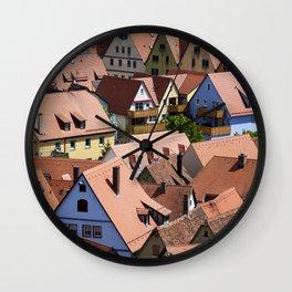 Roofs urban scene Wall Clock