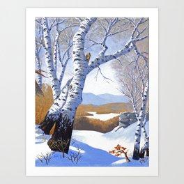 Winter birch valley Art Print