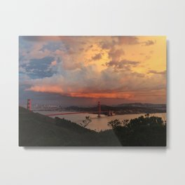 San Francisco's Red Sky Metal Print