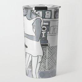 Barista Girl in Greyscale Travel Mug