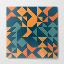 Geometric Modern in Orange Metal Print
