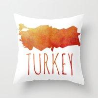 turkey Throw Pillows featuring Turkey by Stephanie Wittenburg