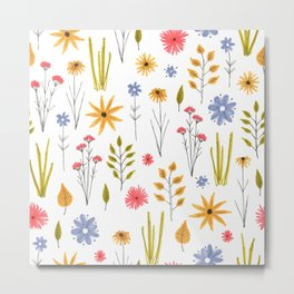 meadow floral print Metal Print