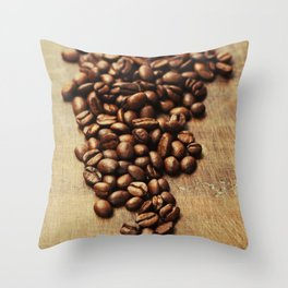 Coffee beans on wooden background Throw Pillow