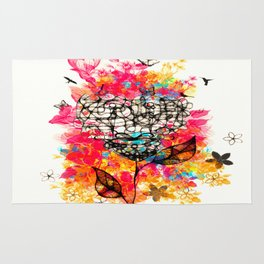 Abstract flower's face, colors Rug