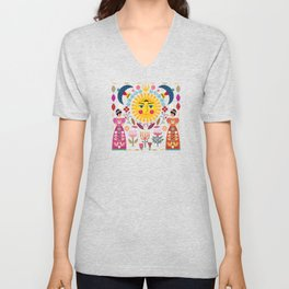 Folk Art Inspired By The Fabulous Frida Unisex V-Neck