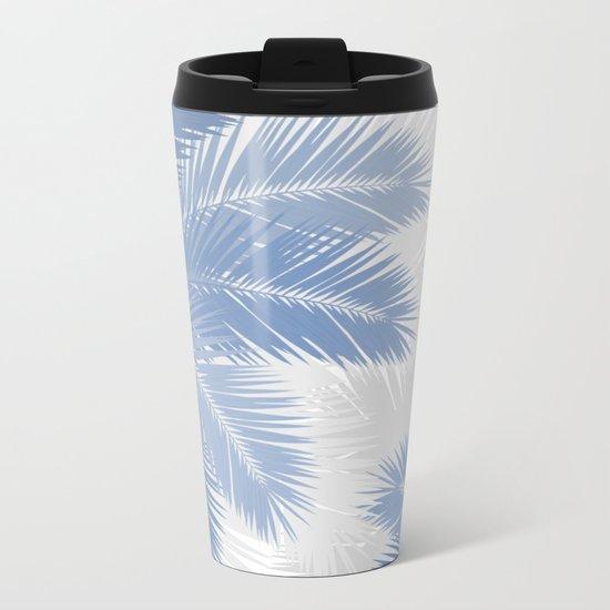 BLUE TROPICAL PALM TREES Metal Travel Mug
